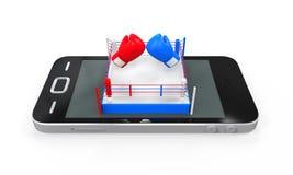 Boxningsring i mobiltelefon Arkivbilder