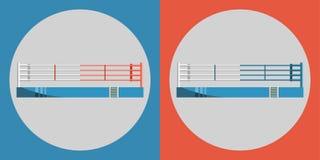 Boxringikone Färben Sie Sportarena auf einem blauen und roten Hintergrund Stockfotografie