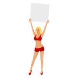 Boxringmädchen mit unbelegter Karte Lizenzfreie Stockfotografie