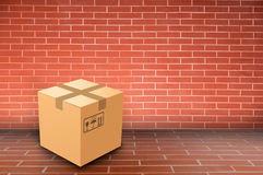 Boxs on brick wall Stock Images