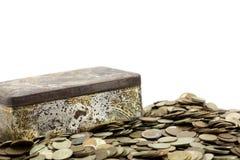 Boxt com moedas Imagem de Stock