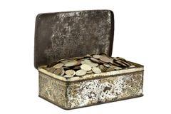 Boxt com moedas Imagem de Stock Royalty Free