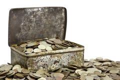 Boxt met muntstukken Stock Afbeeldingen