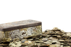 Boxt met muntstukken Stock Afbeelding