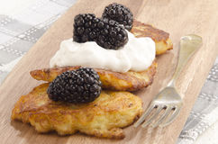 Boxty, irish pancake with blackberries Royalty Free Stock Photography