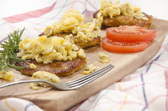Boxty irish pancake with scrambled egg Royalty Free Stock Photos
