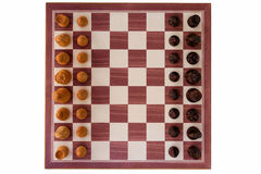 Boxwood chessboard with all pieces Stock Photo