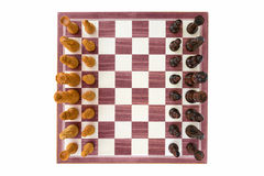 Boxwood chessboard with all pieces Royalty Free Stock Photo