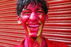 A boy�s face smeared with colour. Royalty Free Stock Image