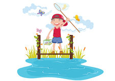 Boy. Illustraion of boy catching butterfly in garden Royalty Free Stock Image