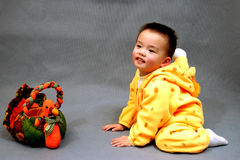 Boy. A boy with a toy duck Royalty Free Stock Image