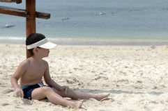 Boy. In the tropical seaside resort of the little boy Stock Photo