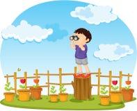 Boy. Illustration of boy watching through binocular Royalty Free Stock Images