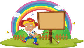 Boy. Illustration of boy tying notice board Royalty Free Stock Photography