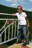 Boy. The Boy cost(stand)s on stairway leaned;leant against on banisters. Green wood on back plan Royalty Free Stock Photo