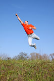 Boy. Flying boy in the park Stock Photography