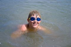 Boy. The boy has come up from water. Happy smile Stock Photos