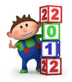 Boy with 2012 number blocks. Cute cartoon boy giving thumbs up from behind 2012 number blocks - high quality 3d illustration stock illustration