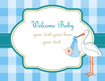 A boy. Baby boy arrival announcement with stork Stock Image