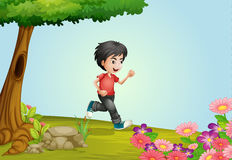A boy. Illustration of a boy running in a beautiful nature Stock Images