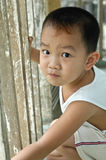 Boy. Wearing a white clothes Chinese children Royalty Free Stock Photography