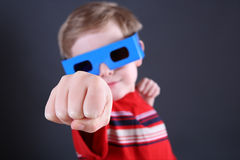 Boy in 3d glasses Stock Photography