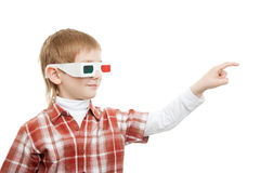 Boy in 3d glasses pointing Royalty Free Stock Photography