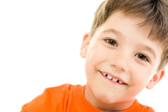 Boy. Portrait of young boy with smile on a white background Stock Photography