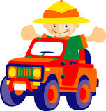 Boy. Vector of a boy driving a jeep vector illustration