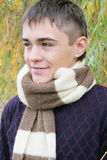 The boy. With a scarf about trees stock photos