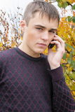 Boy. The boy with a mobile phone royalty free stock photos