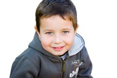 Boy. A five years old boy with white background Royalty Free Stock Photo