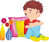 Boy. Illustration of boy resting against two pillows Royalty Free Stock Photo