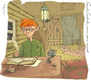 Boy. A boy sitting in a small dirty room at the table writing in a notebook with a pen Stock Images