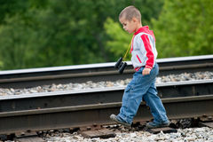 The boy. Going by rail Stock Photo