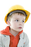 Boy. Builder in isolated on white background Royalty Free Stock Photos