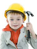 Boy. Builder in isolated on white background Royalty Free Stock Photography