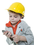 Boy. Builder in isolated on white background Royalty Free Stock Images