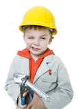 Boy. Builder in isolated on white background Royalty Free Stock Image