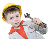 Boy. Builder in isolated on white background Stock Photo