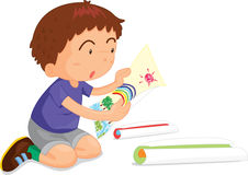 Boy. An illustration of a boy looking at pictures Stock Photo