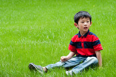 Boy. The weather is good, the young boy enters the nature, breathes the fresh air Royalty Free Stock Images