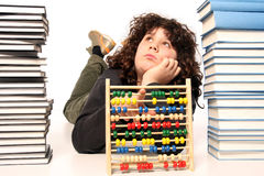 Boy with abacus calculator Royalty Free Stock Images