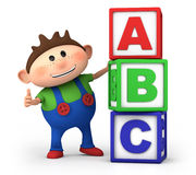 Boy with ABC blocks. Cute little cartoon boy with stack of ABC blocks - high quality 3d illustration Stock Photography