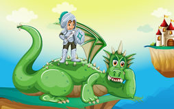 A boy above the dragon stock illustration