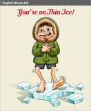 A boy above the ice block. An idiom showing a boy above the ice block Royalty Free Stock Images