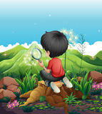 A boy above a stump with a magnifying glass Royalty Free Stock Photo