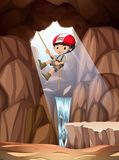 Boy abseiling into cave. Illustration vector illustration