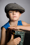 Boy with accordion Royalty Free Stock Photo