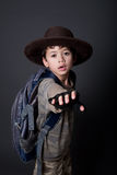Boy acting out his favorite movie character. Young boy acting out his favorite movie character Stock Photos